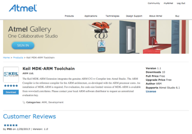 Keil MDK-ARM Toolchain from Keil enables Atmel Studio to use its highly optimizing ARM compiler