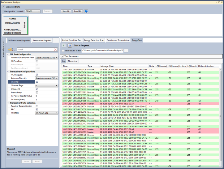 Screenshot of Wireless Composer, an extension to Atmel Studio 6.2 -  - Recorded Logs