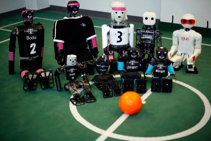 Humanoid robots which were produced from 2005 until now are seen during a photo opportunity at the Institute for Computer Science at the University of Bonn in Bonn