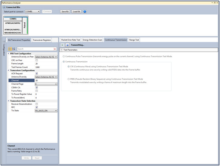 Screenshot of Wireless Composer, an extension to Atmel Studio 6.2 -  Continuous Wave test mode