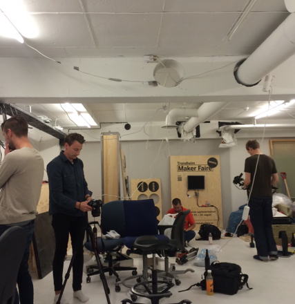 Preparing the plywood and electronics at the Fix Makerspace in Trondheim.