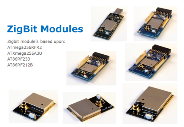 Examples of 802.15.4 Zigbit wireless modules.