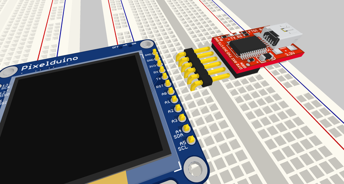 Pixelduino is an Arduino-compatible board with a built-in display
