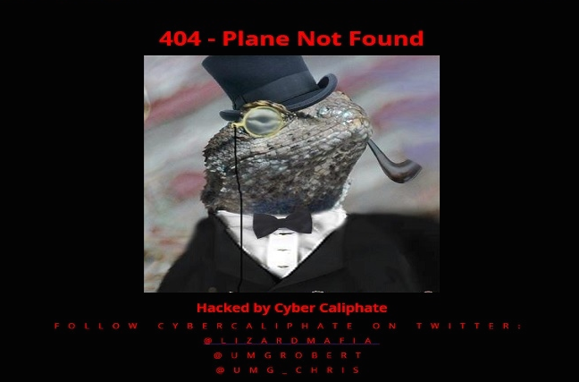 A screenshot taken of Malaysia Airlines' official website after it was hacked Sunday night