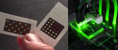 Microfluidic devices made from paper (left) or using polymers (right) have been used with Arduino to create powerful, compact medical diagnostics (Left: Ebola diagnostic from Pardee et. Al [4], Right: Platelet function diagnostic from Li et al. [9])
