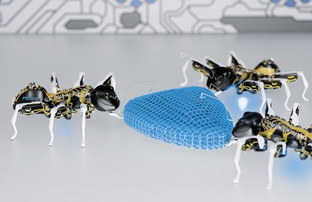 The artificial ants can solve a complex task together working as an overall networked system. (Source: Festo)