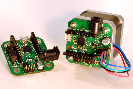 Ustepper is an arduino compatible board with an integrated for Nema 17 stepper motors with rotary encoders